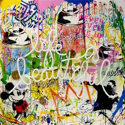 Life is a Comic Book by Mr Brainwash - Neon Light and mixed media in plexi glass box sized 36x36 inches. Available from Whitewall Galleries